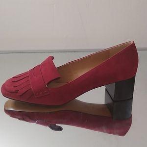 J Jill Block Heel Shoes Dull Red 9.5